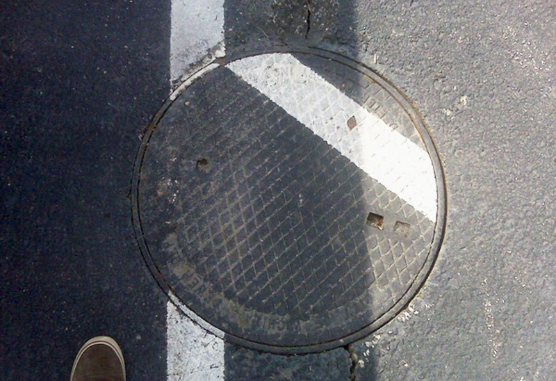 Misplaced manhole cover